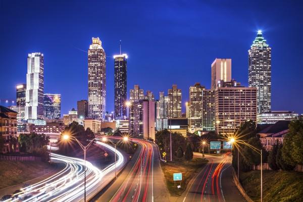 Atlanta, Georgia, USA skyline over Freedom Parkway.